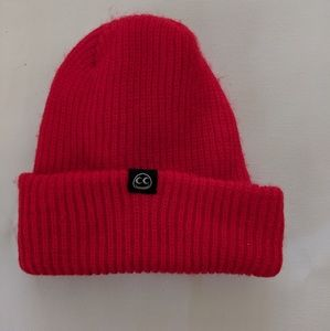See's motorcycle red knit hat beanie
